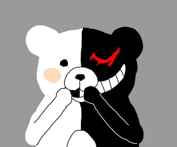 That creepy black and white anime teddy bear