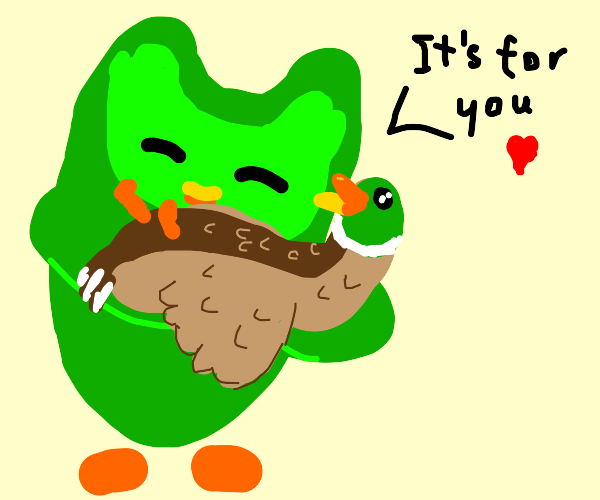 Duolingo owl gives you a duck!