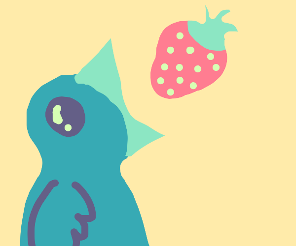 Bluebird eats a strawberry