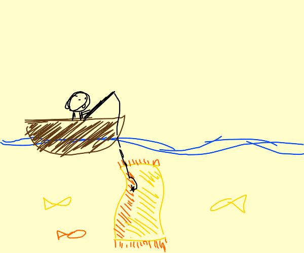 fishing up a golden rug