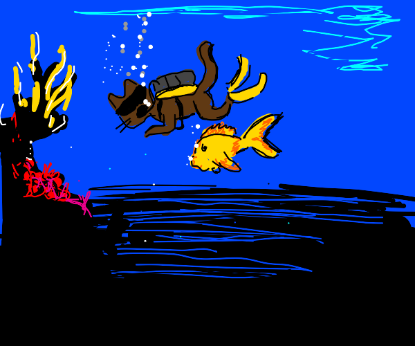 cat and goldfish go scuba diving together