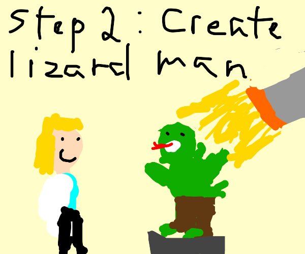 Step: 37974294: Shake hands with Lizard Man