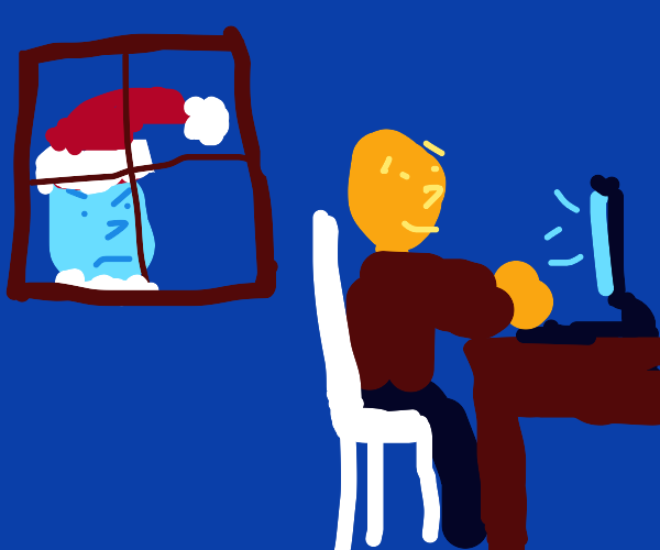 Santa watches you on the computer