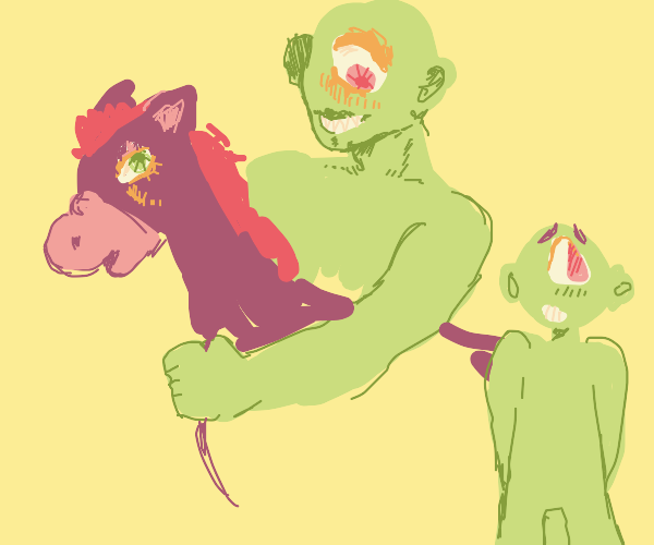 buff cyclops on horse next to man with on eye