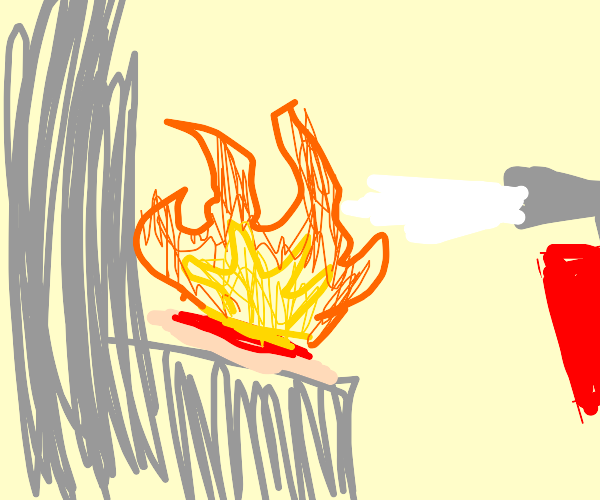 flaming pizza being fire-extinguished
