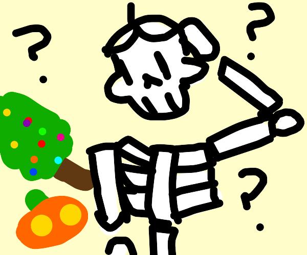Skeleton cant choose between haloween or xmas