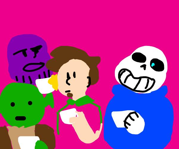 sans, Shaggy, Shrek, and Thanos, Drinking Tea