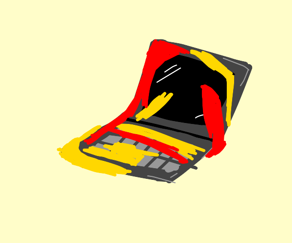 Ketchup and mustard slathered on a laptop