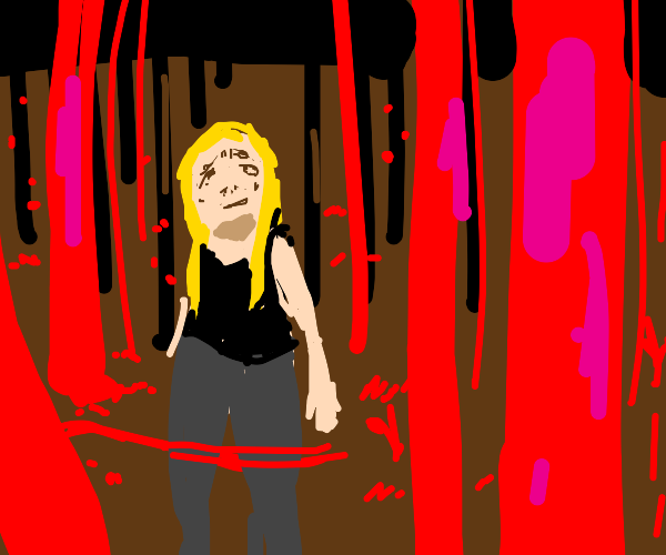 a scared girl in a red forest
