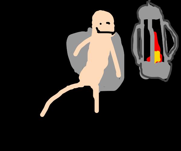 Mothman beside a flame