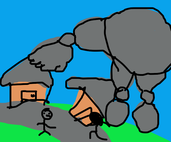 stone golem terrorizes town