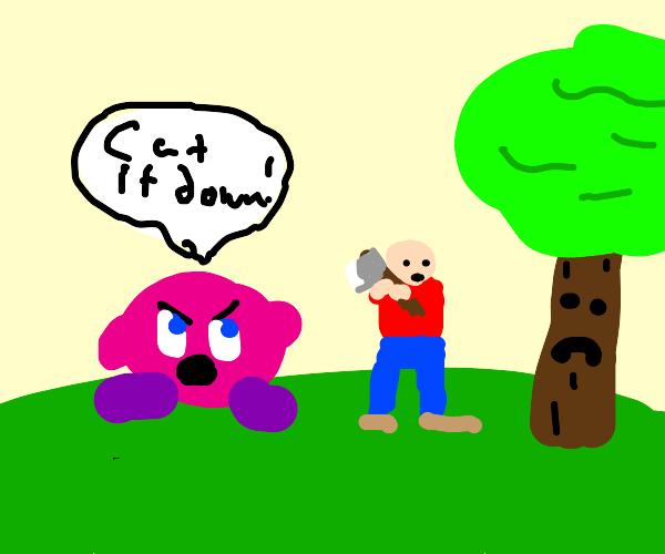 kirby telling a carpenter to cut a sad tree