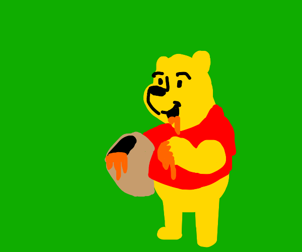 Winnie the Pooh with a pot of honey
