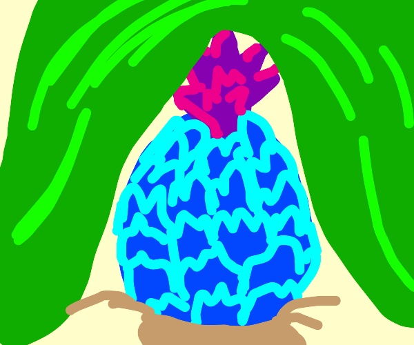 Blue pineapple under green blanket
