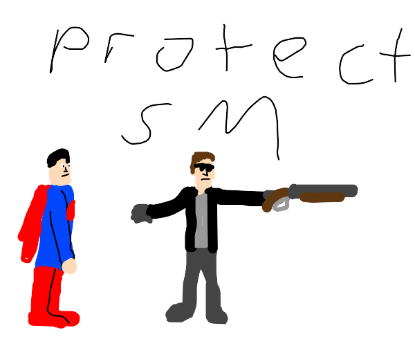 Terminator protecting Superman