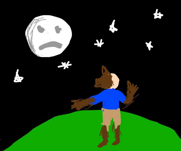 Man transforms into wolf under very sad moon