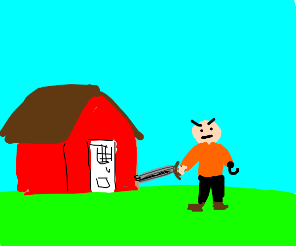Man with hook and sword assaulting red house