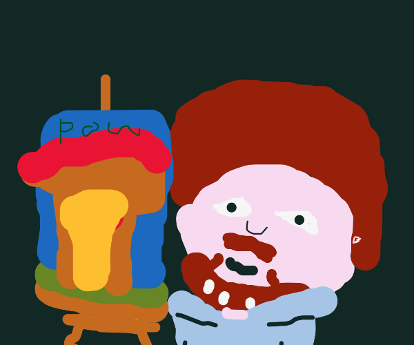 Bob Ross painting a nuclear explosion