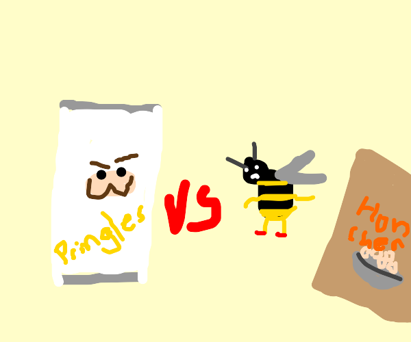 Pringles can and Cheerios bee have a battle
