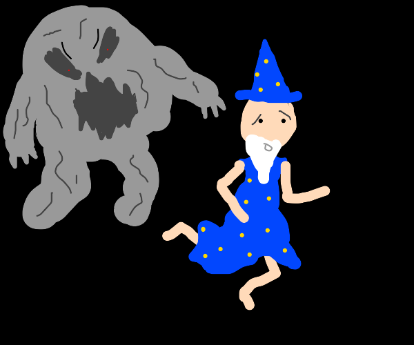 Wizard being chased by a monster