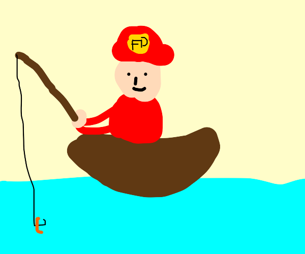Fireman fishing in a lake from a boat