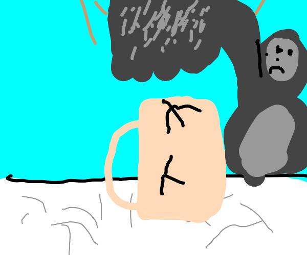Gorilla hitting a cup