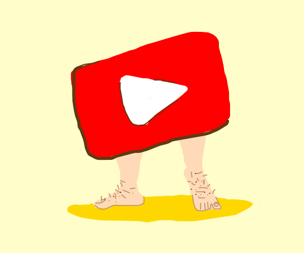 Youtube play button with hairy feet