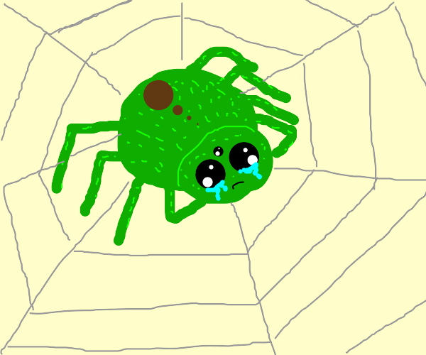 Green spider crying
