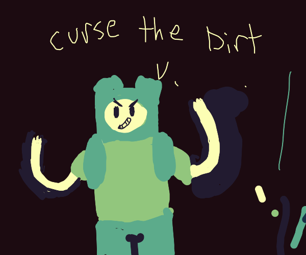 angry grass creature curses the dirt