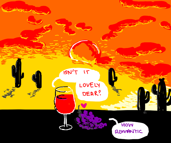 Some Grapes and Wine Watching a Desert Sunset