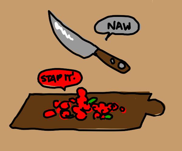 Cartoon Knife bellyflops on Angry Berries