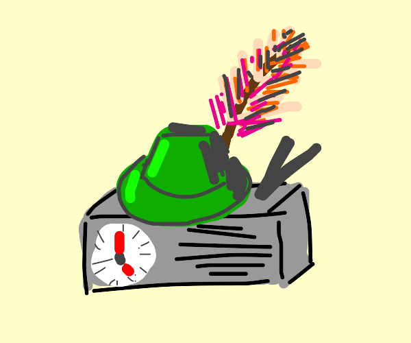 Portable clock radio wearing a feathered hat