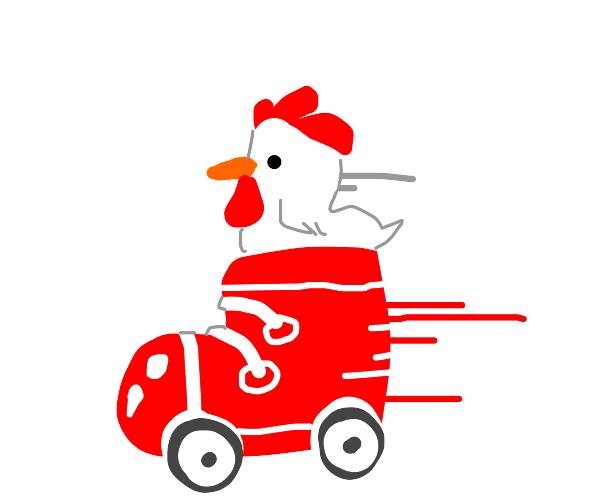 chicken inside roller skate