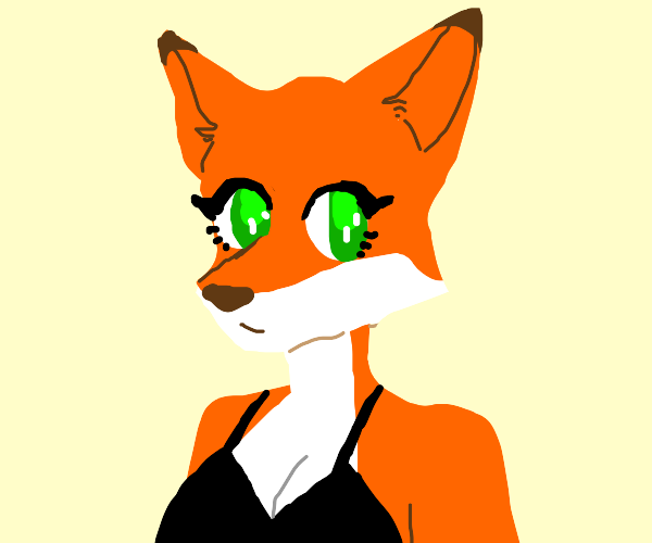 Female anthro fox in black dress