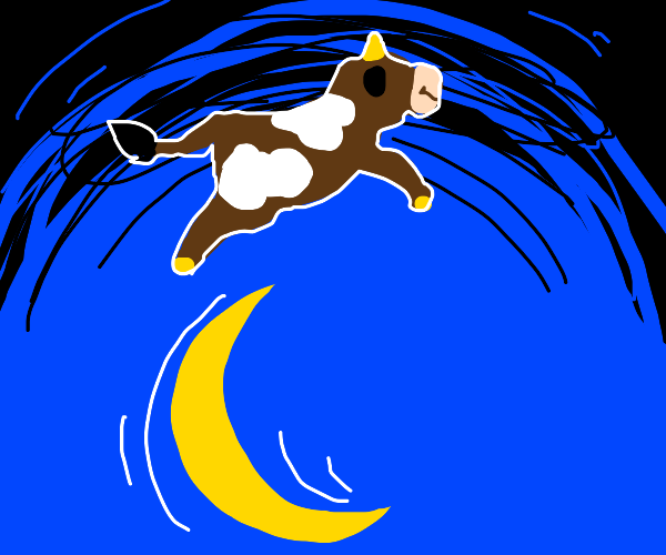 An earless cow jumping over the moon
