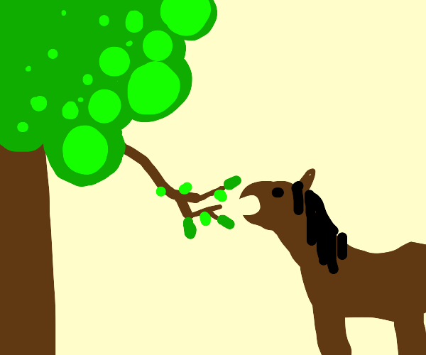 A horse eating leaves off a tree