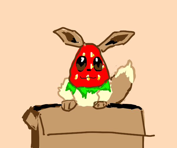 A berry smug looking Eevee in a box