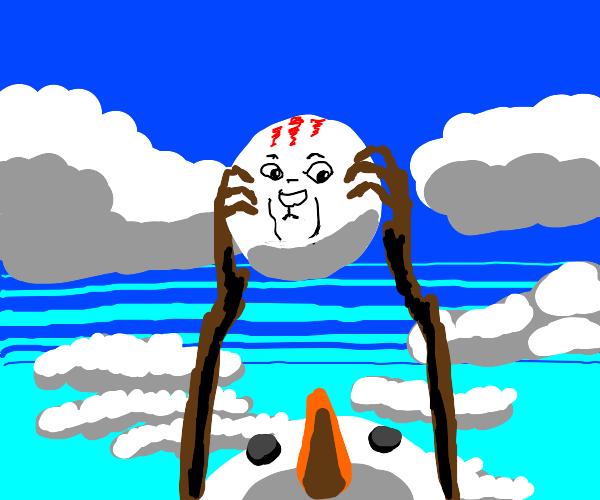 Snowman holds ball like Rafiki holds Simba