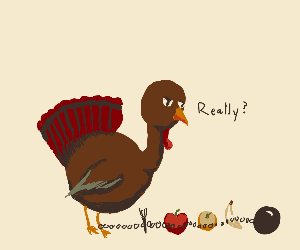 Turkey and fruits attached to fork