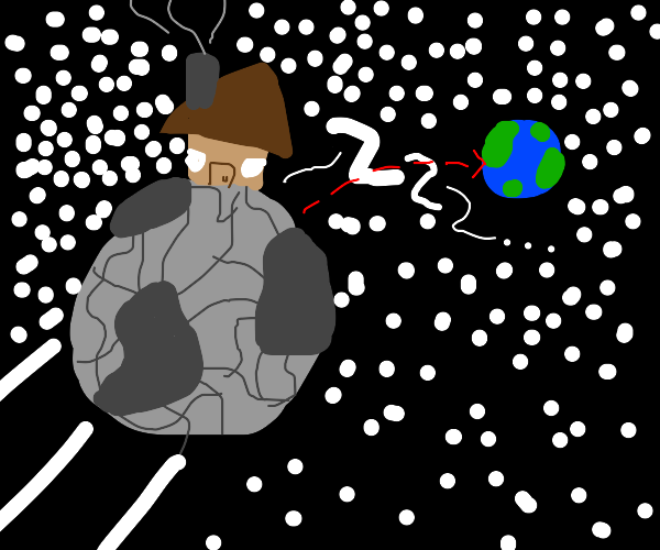Person asleep on earthbound asteroid