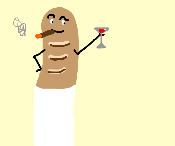 Epic French bread man with wine