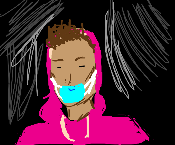 Person in pink hoodie with a mask on