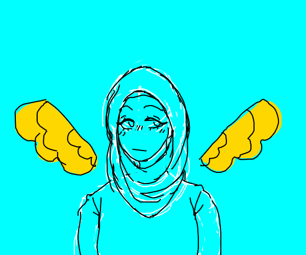 woman has hijab and wings