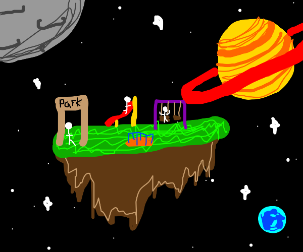small park floating in space