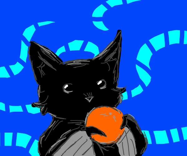Bat eating oranges with blue background