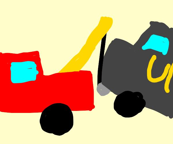 ups van being towed