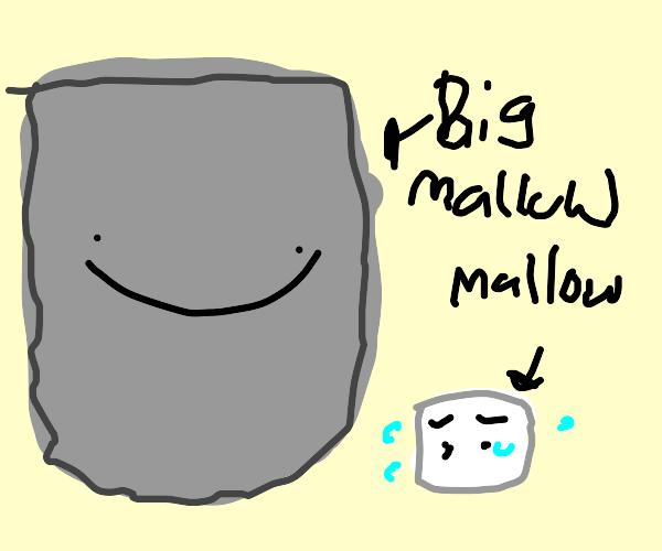Giant dark marshmallow scares little mellows