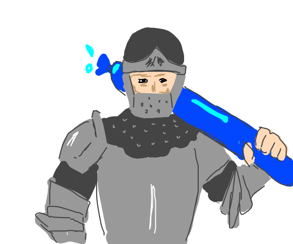 knights sword is a blue waterballoon