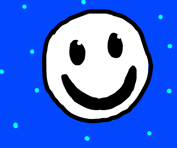 A white smiley face on a blue background