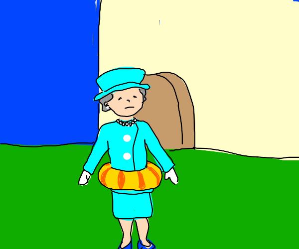Queen Elizabeth II in a pool ring